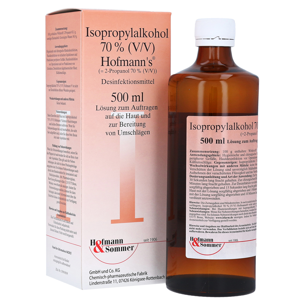 isopropylalkohol 70 v v hofmann 39 s 500 milliliter online bestellen medpex versandapotheke. Black Bedroom Furniture Sets. Home Design Ideas