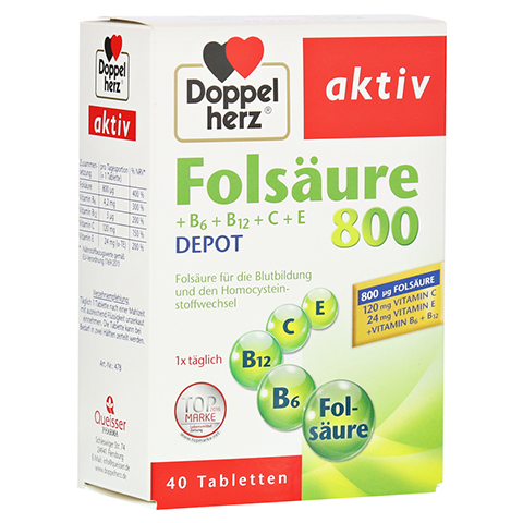 DOPPELHERZ Folsäure 800+B-Vitamine Tabletten 40 Stück