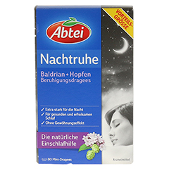 ABTEI  Nachtruhe (Baldrian + Hopfen Beruhigungsdragees) 80 Stück - Vorderseite