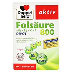 DOPPELHERZ Folsäure 800+B-Vitamine Tabletten 40 Stück - Vorderseite