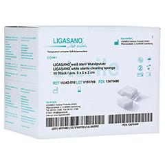 LIGASANO weiß Verband 2x5x5 cm steril+Wundputzer 10 Stück