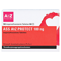 ASS AbZ PROTECT 100mg 100 Stück N3 - Vorderseite