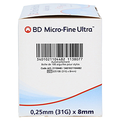 BD MICRO-FINE ULTRA Pen-Nadeln 0,25x8 mm 100 Stück - Linke Seite