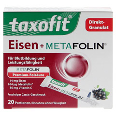 TAXOFIT Eisen+Metafolin Granulat 20 Stück - Vorderseite