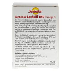 SANHELIOS Lachsöl 850 Omega-3 Kapseln 80 Stück - Rückseite