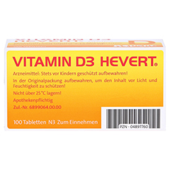 VITAMIN D3 Hevert Tabletten 100 Stück N3 - Unterseite