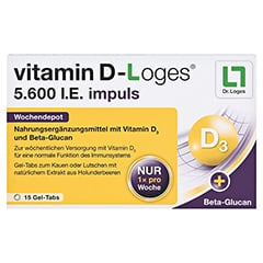 VITAMIN D-LOGES 5.600 I.E. impuls Kautabletten 15 Stück - Vorderseite