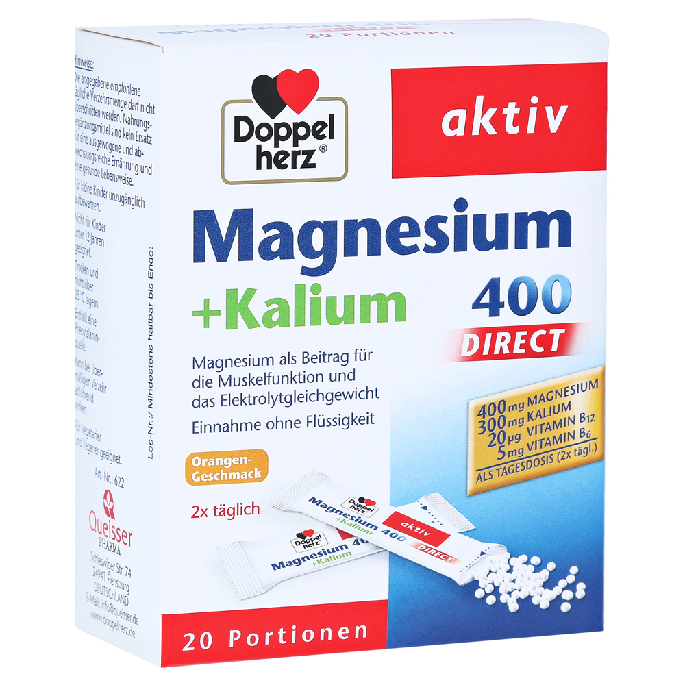 erfahrungen zu doppelherz magnesium kalium direct portionsbeutel 20 st ck medpex versandapotheke. Black Bedroom Furniture Sets. Home Design Ideas