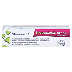 Levocetirizin HEXAL bei Allergien 5mg 50 Stück N2 - Oberseite