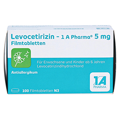 LEVOCETIRIZIN-1A Pharma 5 mg Filmtabletten 100 Stück N3 - Vorderseite