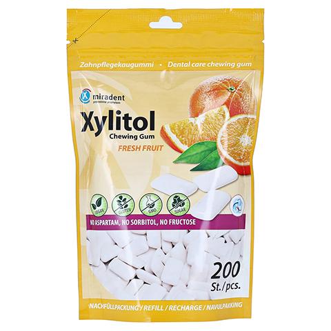 MIRADENT Xylitol Zahnpflegekaugummi freshfruit Ref 200 Stück