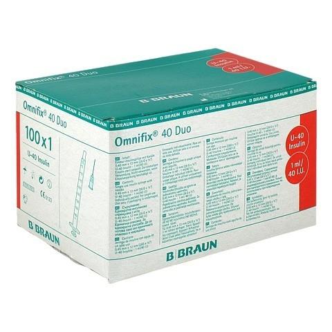 Omnifix Duo 40 Insulin EinmalSpritzen 100x1 Milliliter