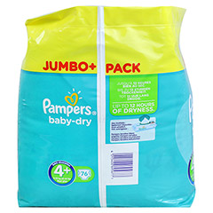 PAMPERS Baby Dry Gr.4+ maxi plus 9-20kg Jumbo plus 76 Stück - Linke Seite