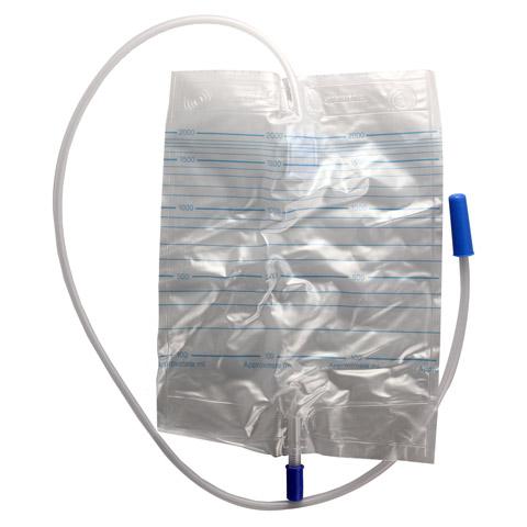 URINBEUTEL steril m.Rücklaufsp.+Ablaufschl.90 cm 2000 Milliliter