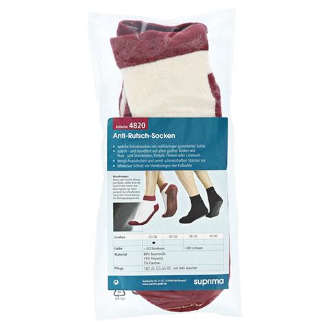 SUPRIMA Anti-Rutsch Socken Gr.35/38 bordeaux 2 Stück