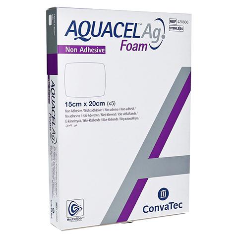 AQUACEL Ag Foam nicht adhäsiv 15x20 cm Verband 5 Stück