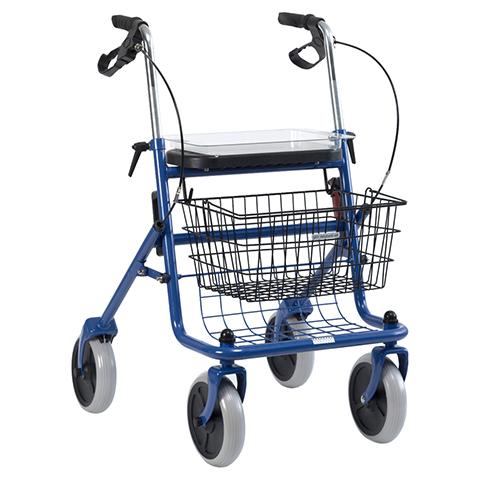 ROLLATOR mit Korb und Tablett blau 1 Stück