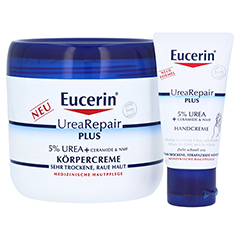 EUCERIN UreaRepair PLUS Körpercreme 5% + gratis Urea Handcreme 30 ml 450 Milliliter