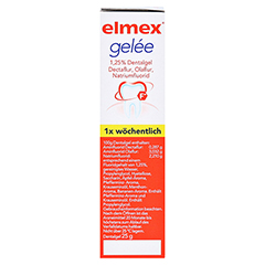 Elmex Gelee + gratis elmex Kariesschutz Zahnpasta 19ml 25 Gramm N1 - Linke Seite