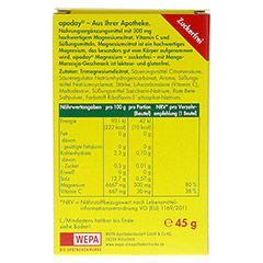 APODAY Magnesium Mango-Maracuja zuckerfrei Pulver 10x4.5 Gramm - Rückseite