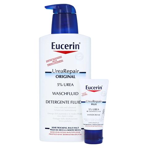 EUCERIN UreaRepair ORIGINAL Waschfluid 5% + gratis Urea Handcreme 30 ml 400 Milliliter