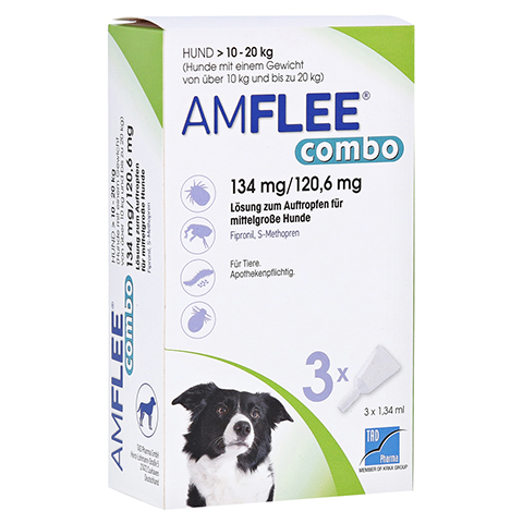 AMFLEE combo 134/120,6mg Lsg.z.Auf.f.Hunde 10-20kg 3 Stück