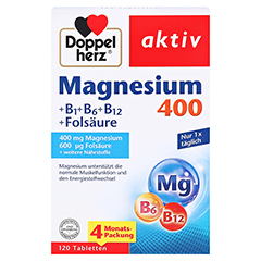 DOPPELHERZ Magnesium 400+B1+B6+B12+Folsäure Tabl. 120 Stück - Vorderseite