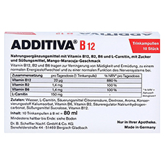 ADDITIVA Vitamin B12 Trinkampullen 10x8 Milliliter - Rückseite