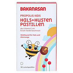 BAKANASAN Propolis Hals- und Husten Pastillen Kids 30 Stück - Vorderseite