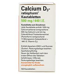 Calcium D3-ratiopharm 500mg/440I.E. 100 Stück - Rechte Seite