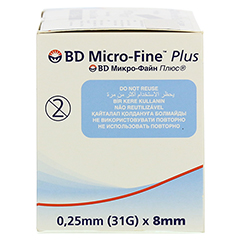 BD MICRO-FINE+ 8 Nadeln 0,25x8 mm 110 Stück - Rechte Seite