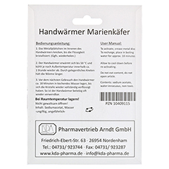 HANDWÄRMER Marienkäfer KDA 1 Stück - Rückseite