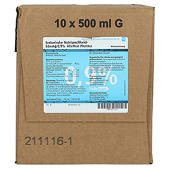 KOCHSALZLÖSUNG 0,9% Glasfl. 10x500 Milliliter N2 - Vorderseite