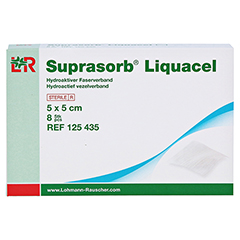 SUPRASORB Liquacel hydroakt.Faserverb.5x5 cm 8 Stück - Vorderseite