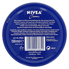 NIVEA CREME Dose 150 Milliliter - Rückseite