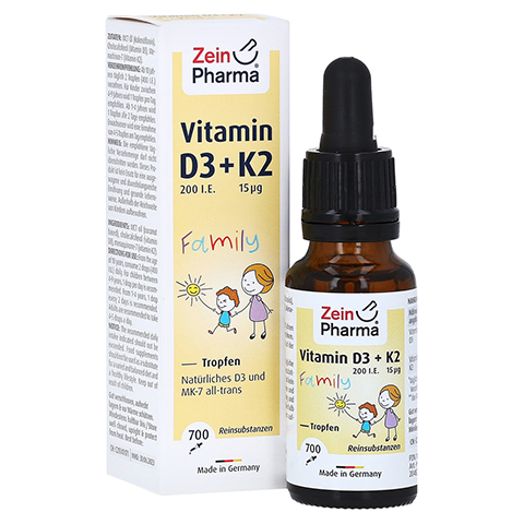 VITAMIN D3+K2 MK-7 all trans Family Tropf.z.Einn. 20 Milliliter