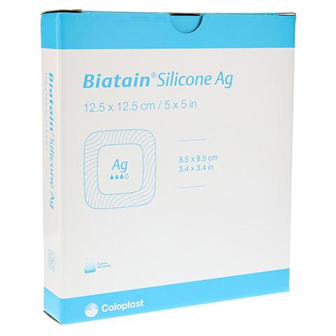 BIATAIN Silicone Ag Schaumverband 12,5x12,5 cm 5 Stück