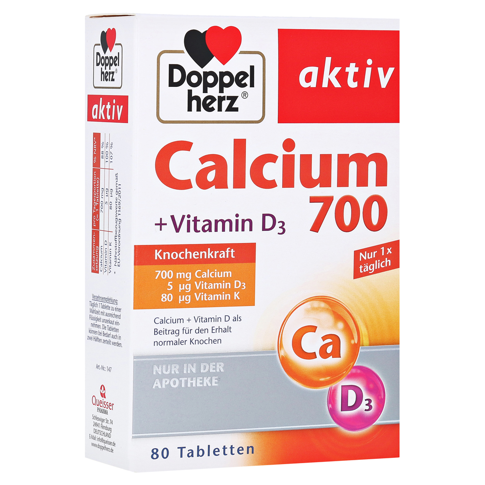 doppelherz calcium 700 vitamin d3 tabletten 80 st ck. Black Bedroom Furniture Sets. Home Design Ideas