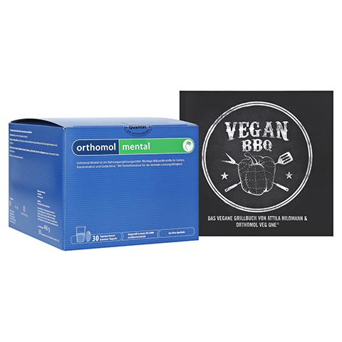 ORTHOMOL mental Granulat + gratis Kochbuch Vegan BBQ Orthomol 30 Stück