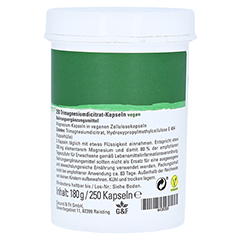 Magnesium PUR Citrat Kapseln 250 Stück - Rückseite