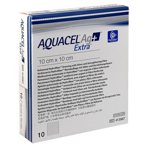 AQUACEL Ag+ Extra 10x10 cm Kompressen 10 Stück