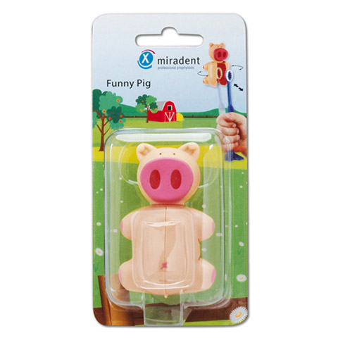 MIRADENT Kinderzahnbürstenhalter Funny Schwein 1 Stück