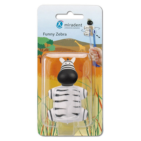 MIRADENT Kinderzahnbürstenhalter Funny Zebra 1 Stück