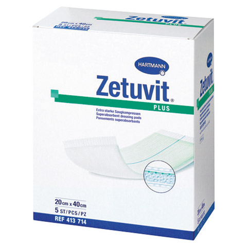ZETUVIT Plus extrastarke Saugkompr.steril 20x40 cm 5 Stück