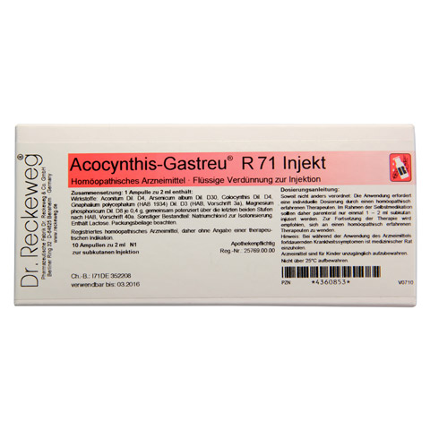 ACOCYNTHIS Gastreu R 71 Injekt Ampullen 10x2 Milliliter N1