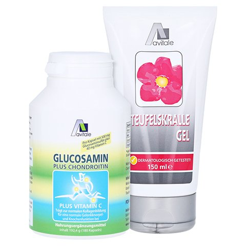 GLUCOSAMIN 500 mg+Chondroitin 400 mg Kapseln + gratis Teufelskrallen Gel 180 Stück