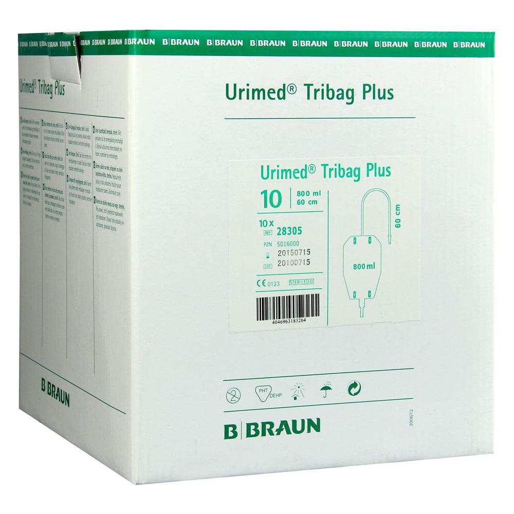 URIMED Tribag Plus Urin Beinbtl.800ml 60cm ster. 10 Stück