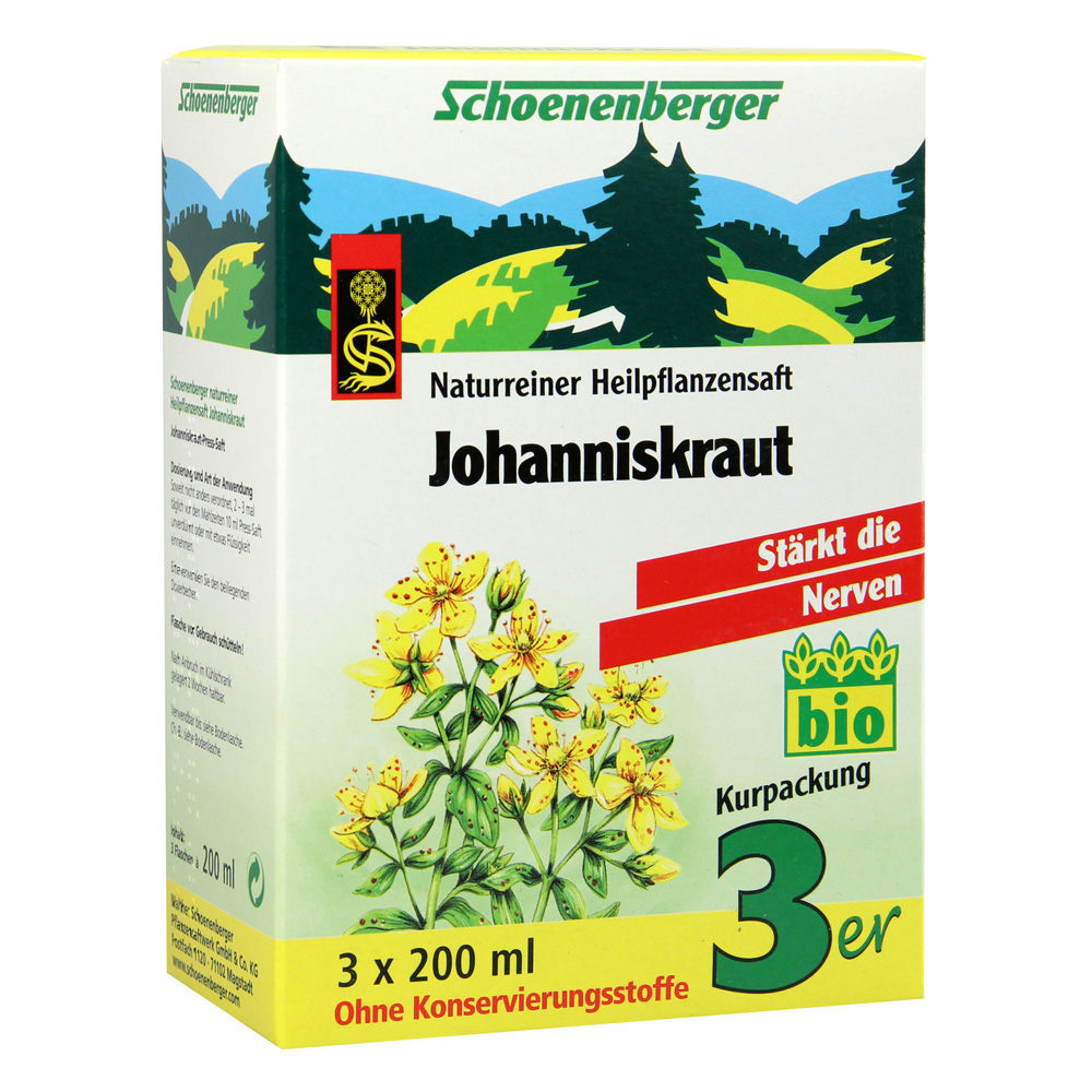 JOHANNISKRAUT SAFT Schoenenberger Heilpfl.Säfte 3x200 Milliliter