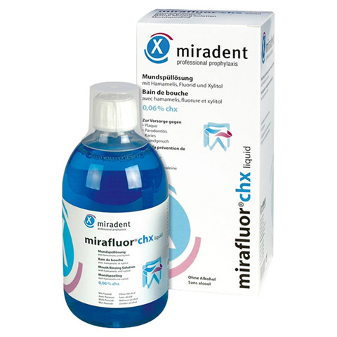 MIRADENT Mundsp�ll�sung mirafluor chx 0,06% 500 Milliliter