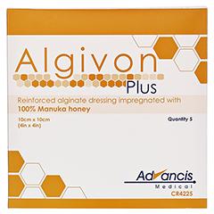 ALGIVON Plus Honigalginat Wundauflage 10x10 cm 5 Stück - Vorderseite